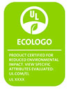 ECOLOGO - Product Certified for Reduced Environmental Impact.